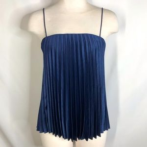 Vince size S navy pleated babydoll top
